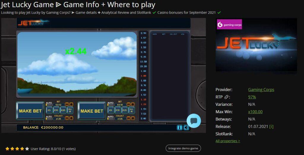 JetLucky crash game